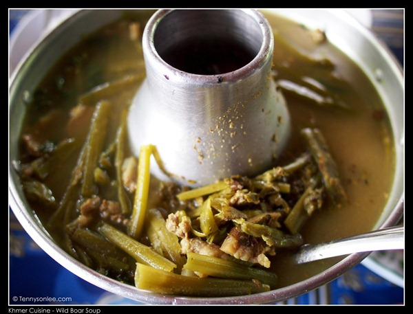 Wild boar soup with morning glory